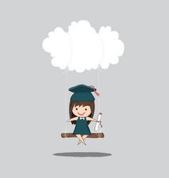 cartoon girl graduated pupils swinging on a cloud vector image