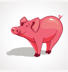 cartoon pink pig with a smile vector image