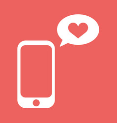 Cellphone with with talk bubble and heart shape vector