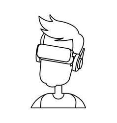 Character man young wearing vr glasses vector