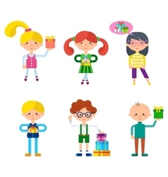 Children Cartoon Characters Set vector