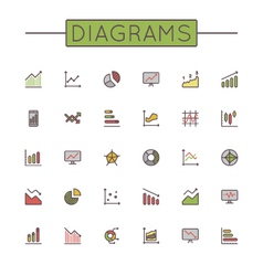 Colored Diagrams Line Icons vector image