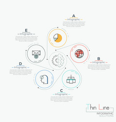 Creative infographic design layout 5 circles with vector