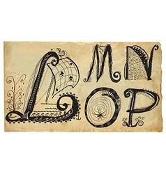 Curly playful alphabet - hand drawn - part l-p vector