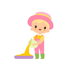 cute boy in overalls rubber boots and hat pouring vector image