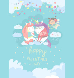 cute card with fairy unicorns in love vector image