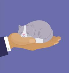 Cute cat cartoon kitten dreaming on human hand vector