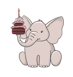 Cute hand drawn elephant with cake vector