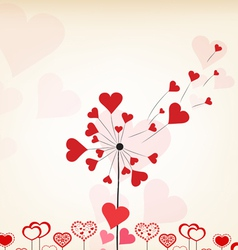 dandelions hearts valentines day background vector image