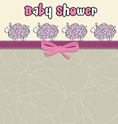 Delicate baby shower card with purple sheep vector image
