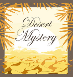 Desert sunset with palm leaves frame background vector
