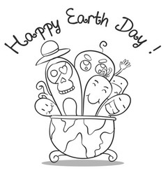 Doodle art earth day hand draw vector