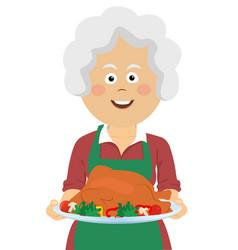 Elderly woman with thanksgiving turkey vector