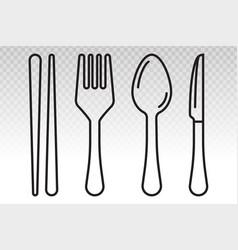 Equipment dining silverware or tableware line art vector