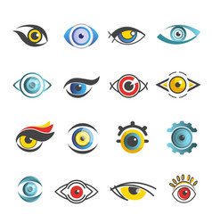 Eyes icons templates isolated eye set vector