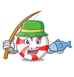 Fishing peppermint candy mascot cartoon vector