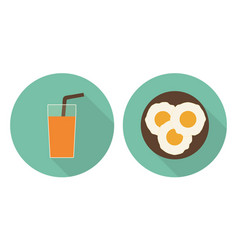 flat glass of orange juice and fried eggs vector image vector image
