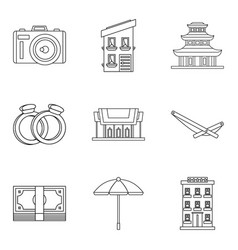 Fondness icons set outline style vector