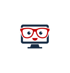 Geek computer logo icon design vector