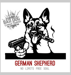 German shepherd with guns - german shepherd vector