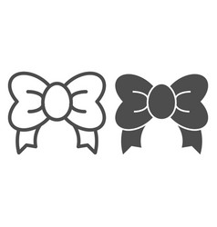 Gift bow line and glyph icon decoration vector