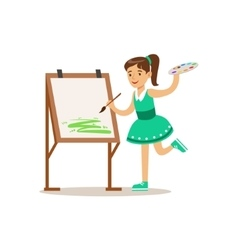 Girl Painting Creative Child Practicing Arts In vector