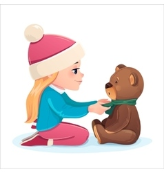 Girl with a bear vector