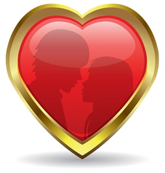 Golden heart with reflection vector