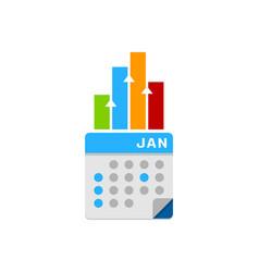 graph calendar logo icon design vector image