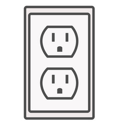 Grounded power outlets symbol white socket vector