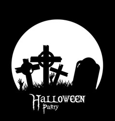 halloween cemetery and zombie hands black vector image