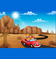 happy children traveling by red car vector image