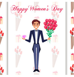 Happy womens day greeting card with man in tuxedo vector