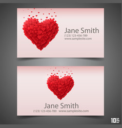 Heart business card vector
