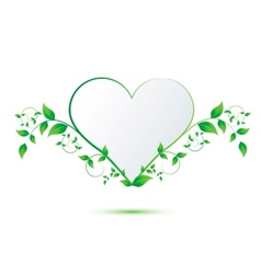 Heart with green leaves vector image