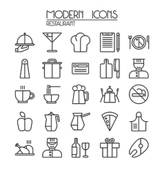 Icon set restaurant vector