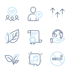 leaf add user and swipe up icons set no smoking vector image