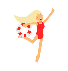 lifeguard girl character in a red swimsuit running vector image vector image