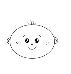 Line cute baby boy face with expression vector