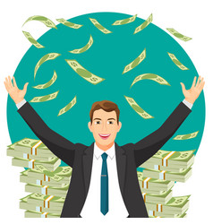 man in expensive suit gets bonus money vector image vector image