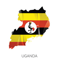 map uganda with an official flag on white vector image