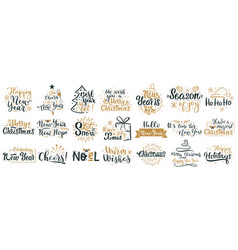 merry christmas lettering quotes happy new year vector image