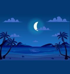 moonlight night at seashore landscape background vector image