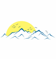 Mountains from the sun dawn vector