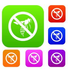 no wasp sign set collection vector image
