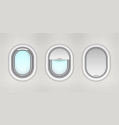 opened and closed airplane porthole plane window vector image