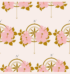 pattern template design with compass and pink vector image