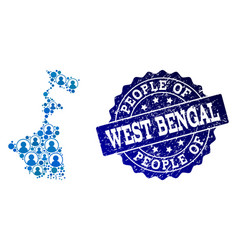 People collage of mosaic map of west bengal state vector