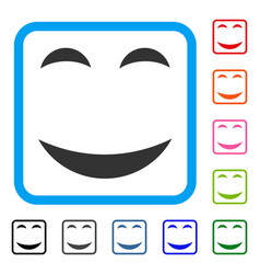Pleasure smile framed icon vector