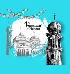 Ramadan mubarak mosque tower mosque and ribbon vector